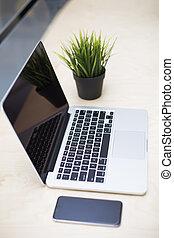 téléphone, ordinateur portable, bureau, mobile