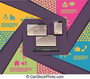 téléphone, ordinateur portable, connexion, tablette