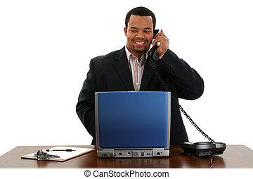 téléphone, ordinateur portable, homme affaires