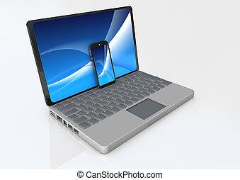 téléphone, ordinateur portable, intelligent
