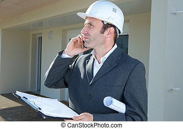 téléphone, ouvrier, ingénieur, construction