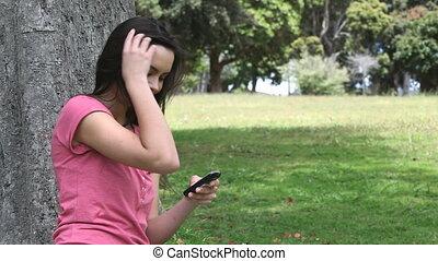téléphone, p, mobile, tenue, femme