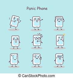 téléphone, panique, dessin animé, intelligent