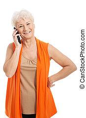 téléphone., par, vieille femme, conversation
