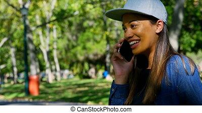téléphone, parc, mobile, conversation, 4k, femme