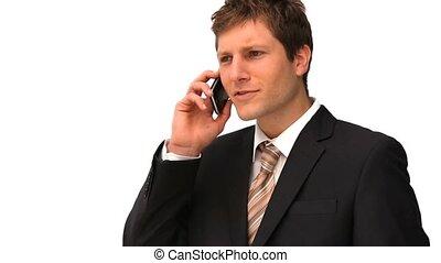 téléphone, parler, homme affaires