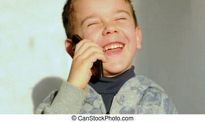 téléphone, parler, laughi, enfant