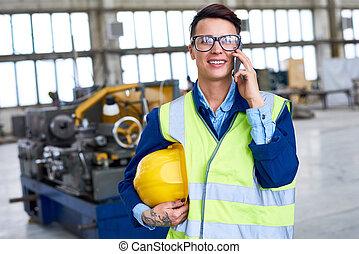 téléphone, parler, ouvrier, usine, femme