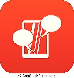 téléphone, parole, numérique, bulle, rouges, icône