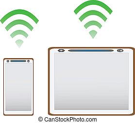 téléphone, pc, fond, blanc, tablette, mobile