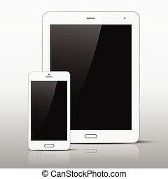 téléphone, pc, gabarit, blanc, tablette, mobile