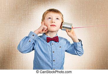 téléphone, pensée, étain, garçon, boîte, écoute, jeune
