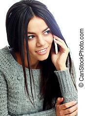 téléphone, pensif, femme, jeune, conversation