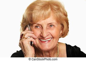 téléphone, personne agee, heureux, dame, conversation
