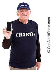 téléphone, personne agee, tenue, intelligent, volontaire