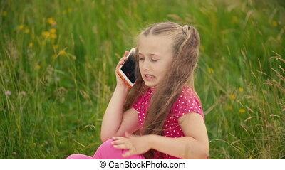 téléphone, peu, conversation, girl
