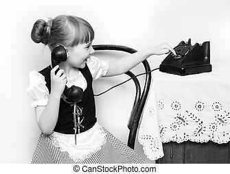 téléphone., peu, vieux, sonner, girl