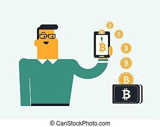 téléphone, pièces, portefeuille., bitcoin, replacer