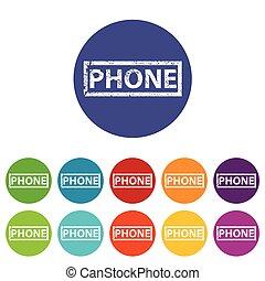 téléphone, plat, icône