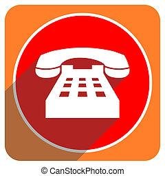 téléphone, plat, isolé, rouges, icône