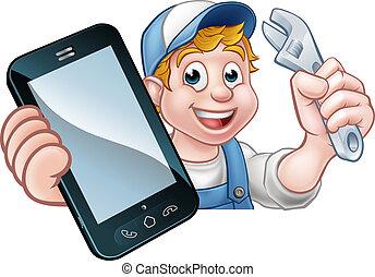 téléphone, plombier, concept, bricoleur, mécanicien