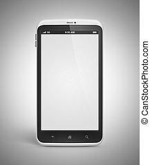 téléphone portable, à, écran blanc