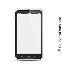 téléphone portable, à, écran blanc, isolé