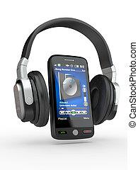 téléphone portable, à, headphones., 3d