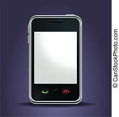 téléphone portable, éclairé, haut