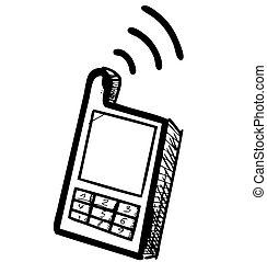 téléphone portable, école, vieux, icône