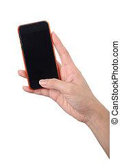 téléphone portable, écran, main, vide