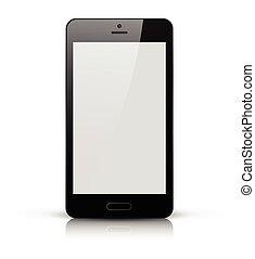 téléphone portable, écran, noir, blanc