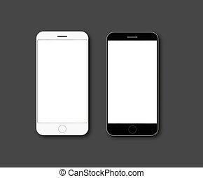 téléphone portable, écran, vecteur, mockup