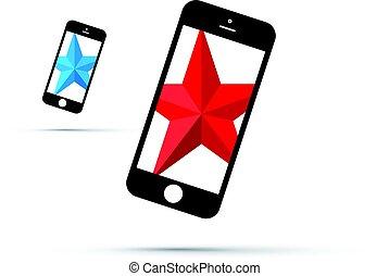 téléphone portable, étoile, fond