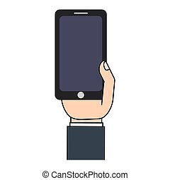 téléphone portable, appareil, main