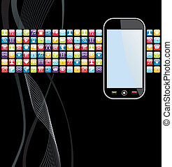 téléphone portable, apps, fond, icônes
