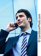 téléphone portable, b, homme affaires, utilisation