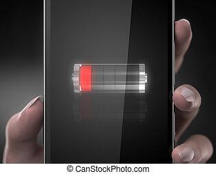 téléphone portable, batterie, concept