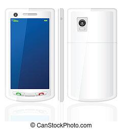 téléphone portable, blanc, ensemble