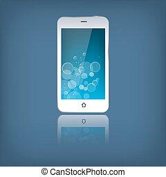 téléphone portable, blanc, isolé