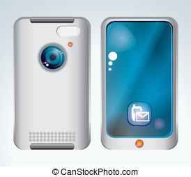téléphone portable, blanc, isolé, dos