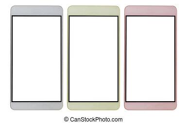téléphone portable, blanc, isoler, fond