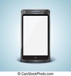 téléphone portable, blanc, moderne, screen.