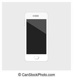 téléphone portable, blanc, vecteur