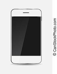 téléphone portable, blanc, vecteur, illustration