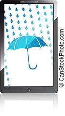 téléphone portable, bleu, parapluie