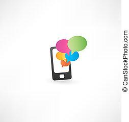 téléphone portable, bulles, communication