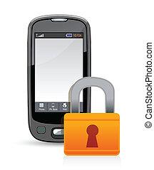téléphone portable, cadenas