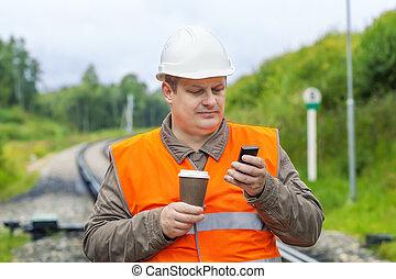 téléphone portable, café, ouvrier
