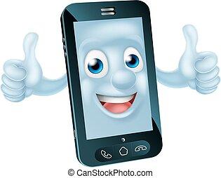 téléphone portable, caractère, dessin animé
